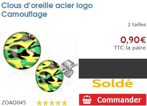 Clous d'oreille acier logo Camouflage