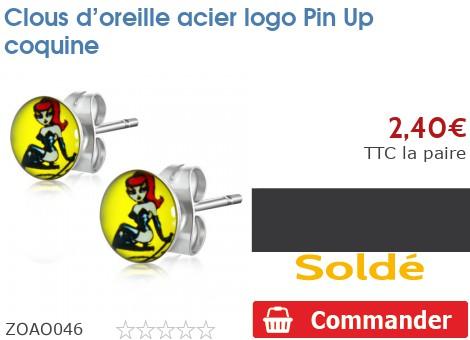 Clous d'oreille acier logo Pin Up coquine