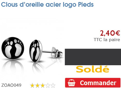 Clous d'oreille acier logo Pieds