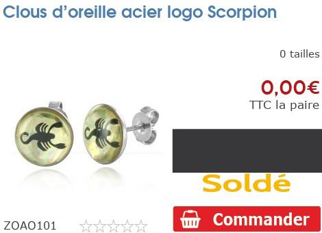 Clous d'oreille acier logo Scorpion