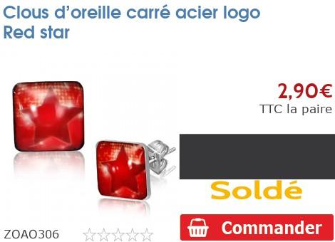 Clous d'oreille carré acier logo Red star