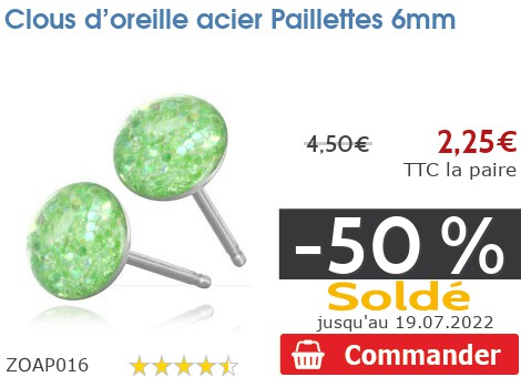 Clous d'oreille acier Paillettes 6mm