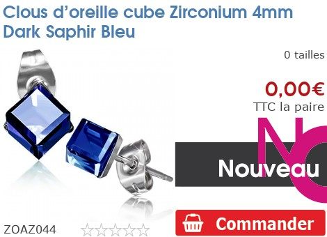 Clous d'oreille cube Zirconium 4mm Dark Saphir Bleu