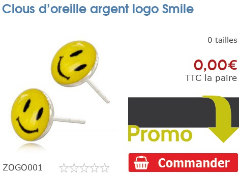 Clous d'oreille argent logo Smiley