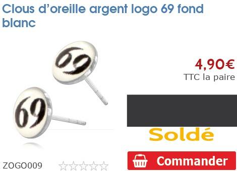 Clous d'oreille argent logo 69 fond blanc