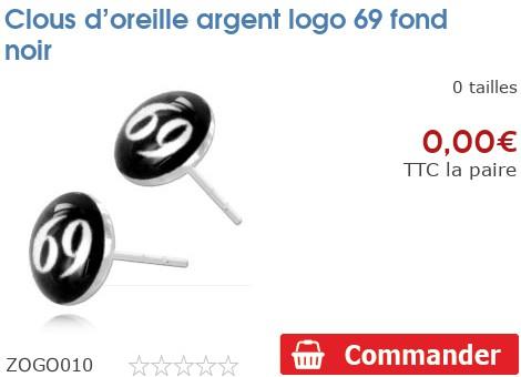 Clous d'oreille argent logo 69 fond noir