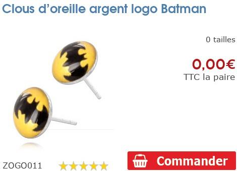 Clous d'oreille argent logo Batman
