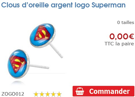 Clous d'oreille argent logo Superman