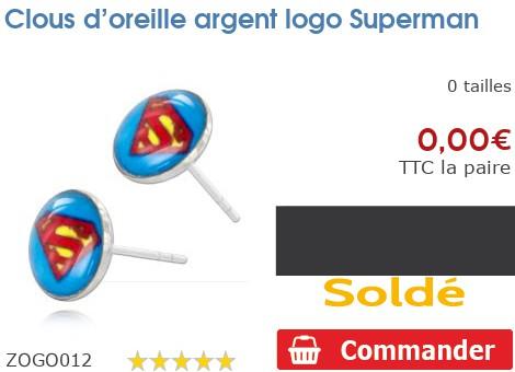 Clous d'oreille argent logo Superman