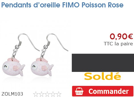 Pendants d'oreille FIMO Poisson Rose