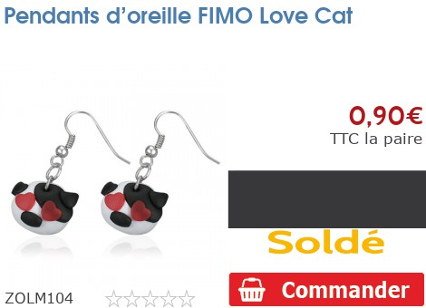 Pendants d'oreille FIMO Love Cat