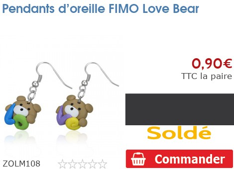 Pendants d'oreille FIMO Love Bear