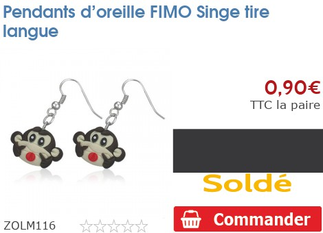 Pendants d'oreille FIMO Singe tire langue