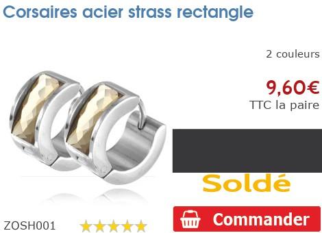 Corsaires acier strass rectangle
