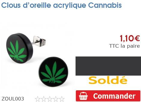 Clous d'oreille acrylique Cannabis