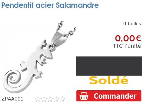 Pendentif acier Salamandre