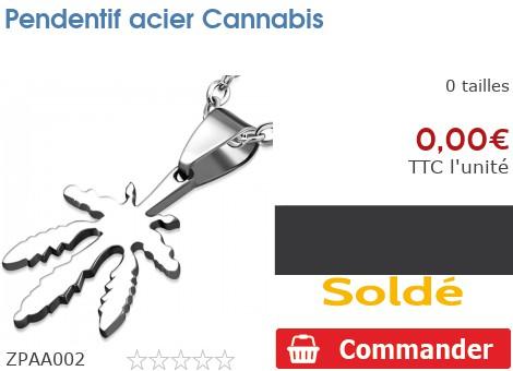 Pendentif acier Cannabis