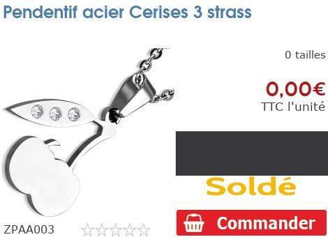 Pendentif acier Cerises 3 strass