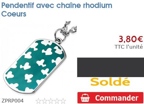 Pendentif avec chaîne rhodium Coeurs