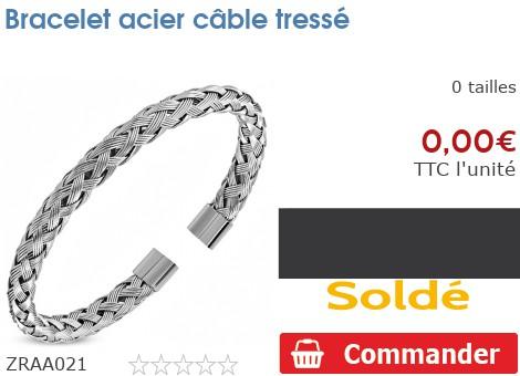 Bracelet acier câble tressé