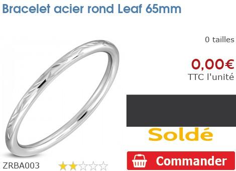 Bracelet acier rond Leaf 65mm