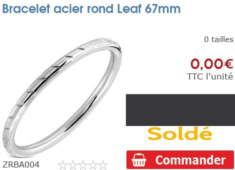 Bracelet acier rond Leaf 67mm