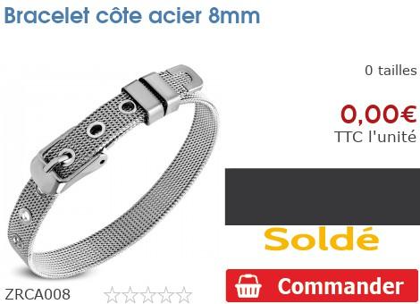Bracelet côte acier 8mm