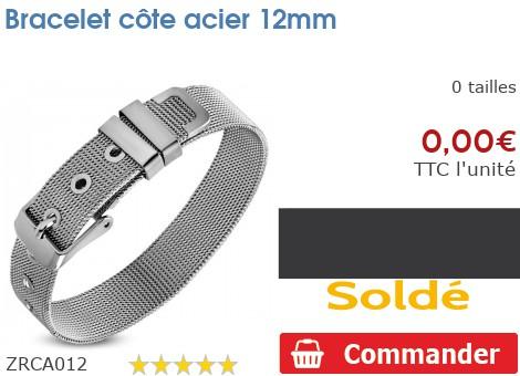 Bracelet côte acier 12mm