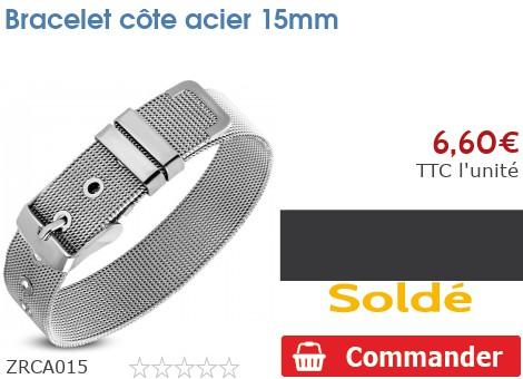 Bracelet côte acier 15mm