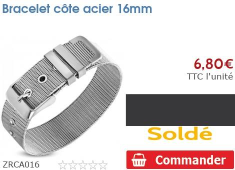 Bracelet côte acier 16mm