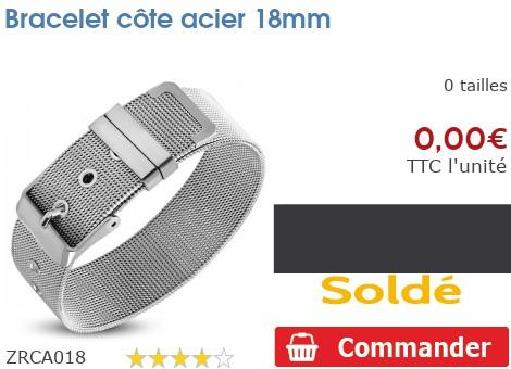 Bracelet côte acier 18mm