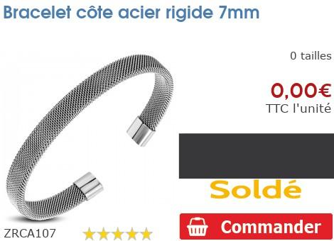 Bracelet côte acier rigide 7mm
