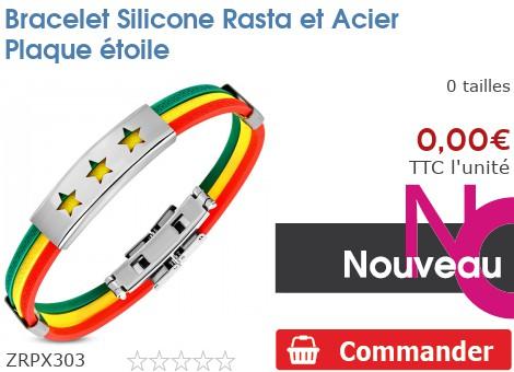 Bracelet Silicone Rasta et Acier Plaque étoile